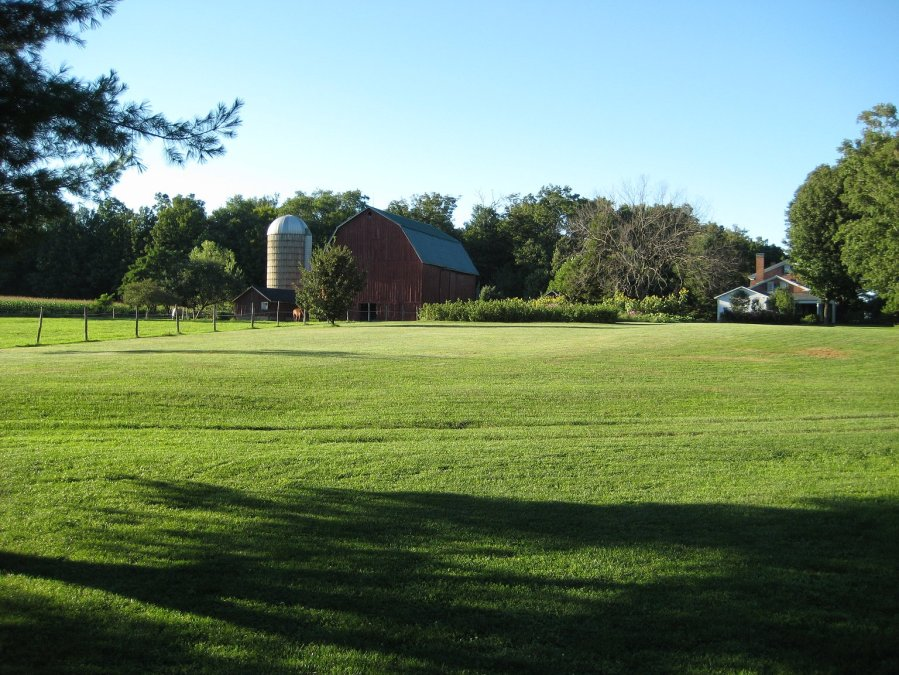 Early Morning View of Barn and Farm House