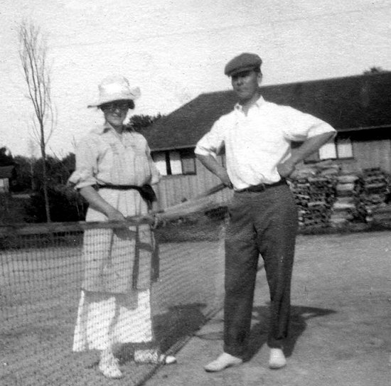 Marguerite & John Olmsted enjoy the Camp Tennis Court c1915